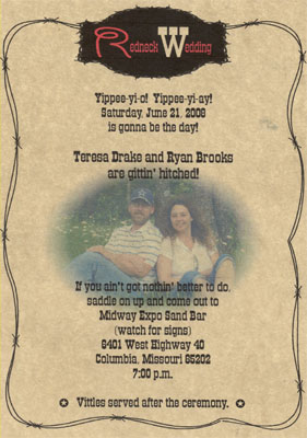Redneck Wedding Invitations is the best ideas you have to choose for invitation example