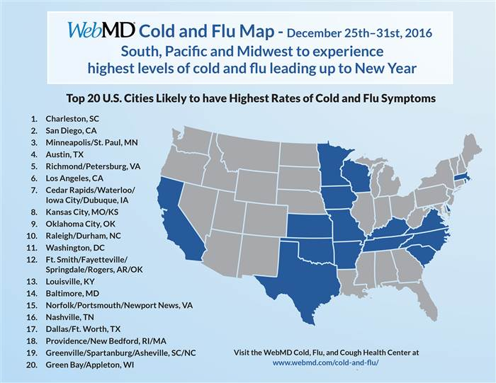Top US Cities Affected By FLU And Cold Symptoms Clear - Flu map us