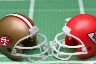 sf 49er's vs chiefs superbowl helmets