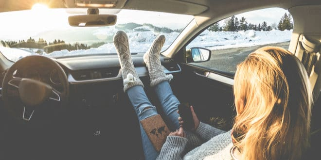 Girl With Feet Up On Dashboard