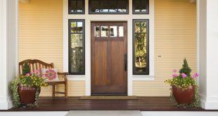Wooden front door of a home.