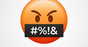 Red angry face emoji. Isolated on white emoticon. Obscene language.