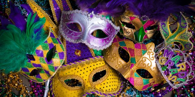 mardi gras mask or disguise on a dark background