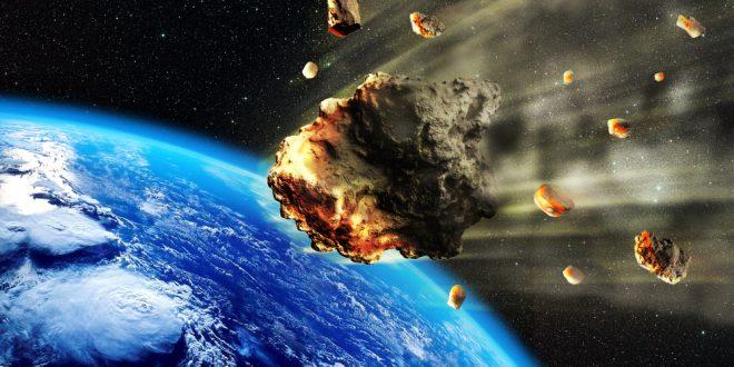 3D rendering of a swarm of Meteorites or asteroids